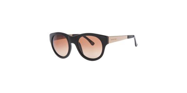 Dámske čierne oválne slnečné okuliare s hnedými sklami Michael Kors
