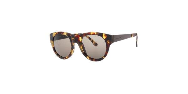 Dámske žíhané oválne slnečné okuliare s čiernymi sklami Michael Kors