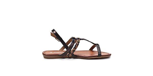 Dámske hnedo-čierne sandále Timeless