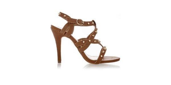 Dámske hnedé sandále so zlatými cvokmi Obelia