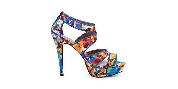 Dámske modré sandále s kvetinovou potlačou Timeless