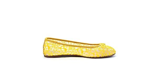 Dámske žlté sieťované balerínky Timeless