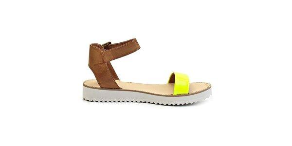 Dámske žlté sandále na nízkej platforme Timeless