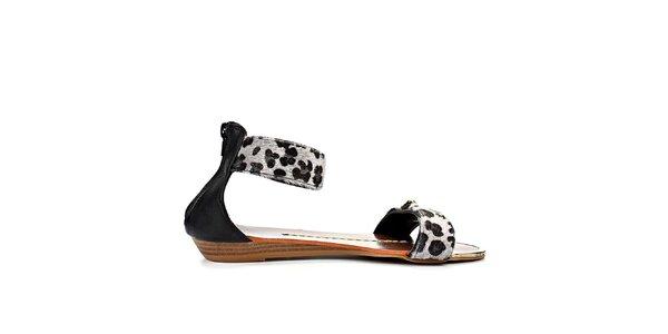 Dámske čierne sandále s leopardím vzorom Timeless