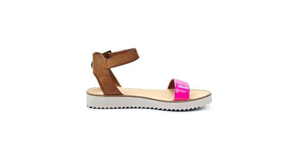 Dámske ružové sandále na nízkej platforme Timeless