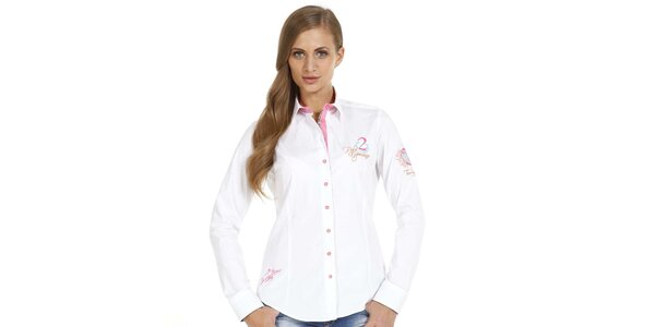 Dámska biela slim fit košeľa s ozdobnými prvkami Pontto