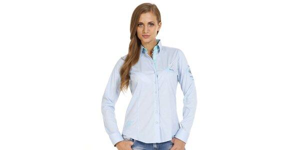 Dámska svetlo modrá slim fit košeľa s ozdobnými prvkami Pontto