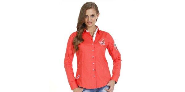 Dámska oranžová slim fit košeľa s ozdobnými prvkami Pontto