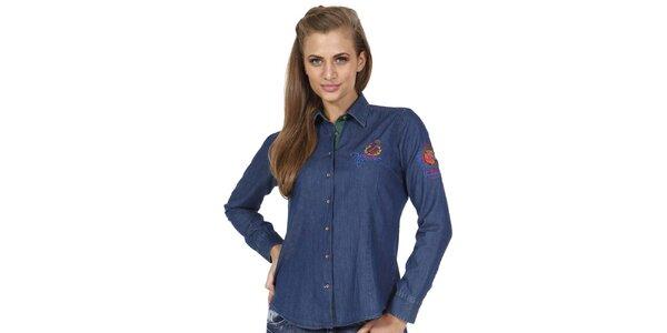 Dámska indigovo modrá slim fit košeľa s ozdobnými prvkami Pontto