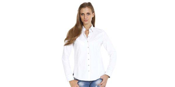 Dámska biela slim fit košeľa so vzorovanými manžetami Pontto