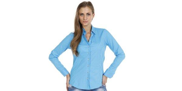 Dámska modrá slim fit košeľa so vzorovanými manžetami Pontto