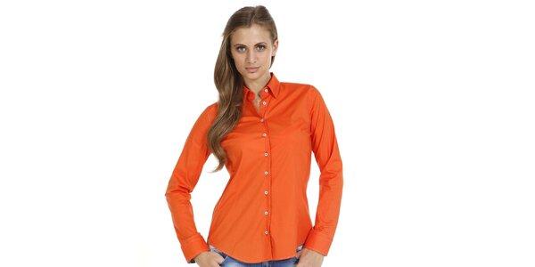 Dámska oranžová slim fit košeľa so vzorovanými manžetami Pontto
