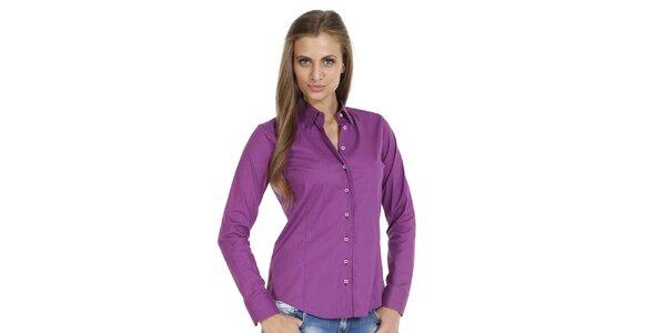 Dámska fialová slim fit košeľa so vzorovanými manžetami Pontto