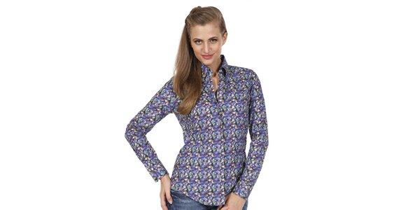 Dámska farebne vzorovaná slim fit košeľa Pontto