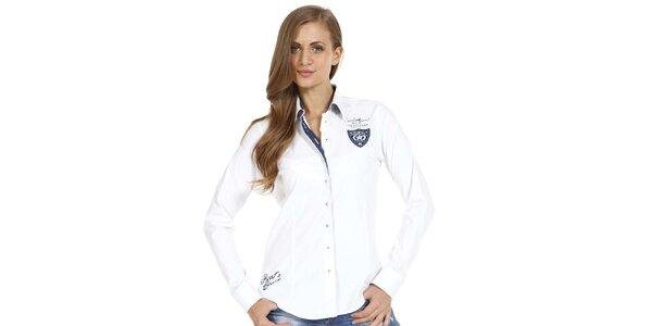 Dámska biela košeľa s detailmi na hrudi a na boku Pontto