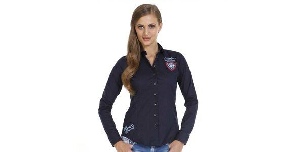 Dámska modrá košeľa s detailmi na hrudi a na boku Pontto