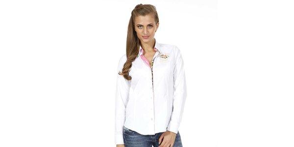 Dámska biela košeľa s kvetinkou Pontto