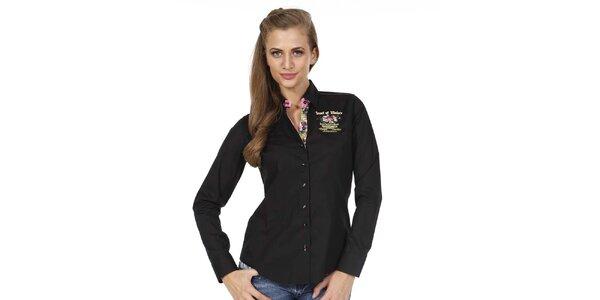 Dámska čierna košeľa s kvetinkou Pontto