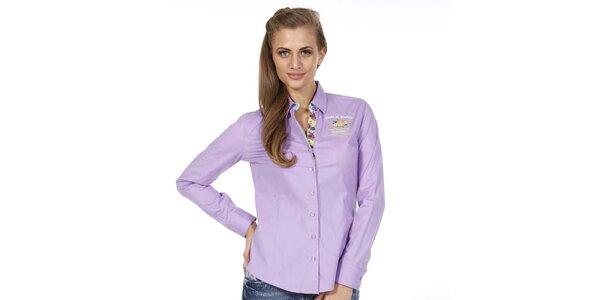 Dámska svetlo fialová košeľa s kvetinkou Pontto