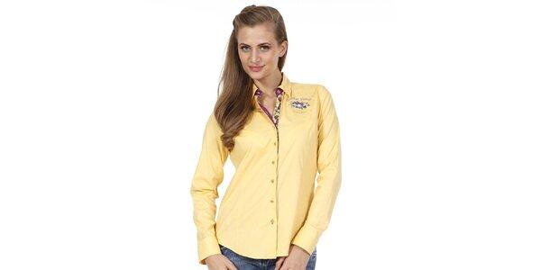 Dámska žltá košeľa s kvetinkou Pontto