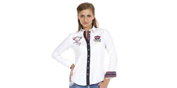 Dámska biela košeľa s nášivkami a kontrastnou légou Pontto