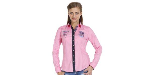 Dámska ružová košeľa s nášivkami a kontrastnou légou Pontto