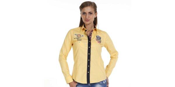 Dámska žltá košeľa s nášivkami a kontrastnou légou Pontto