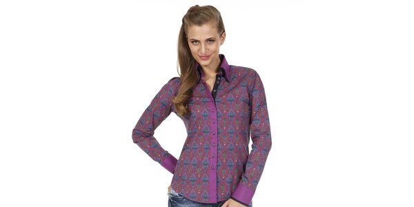 Dámska vzorovaná košeľa fialovej farby Pontto