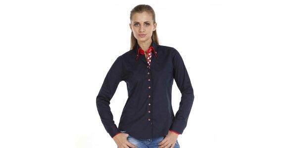 Dámska tmavomodrá bavlnená košeľa Pontto