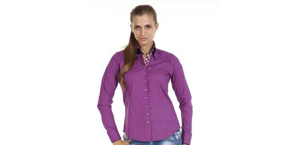 Dámska fialová košeľa s dlhým rukávom Pontto