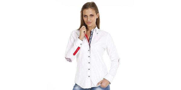 Dámska biela košeľa so záplatami na lakťoch Pontto