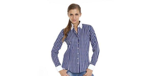 Dámska tmavo modrá kockovaná košeľa Pontto