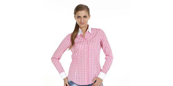 Dámska ružová kockovaná košeľa Pontto