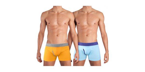 Sada dvoch pánskych boxeriek Mosmann - oranžové a svetlo modré