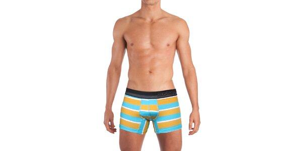 Pánske oranžovo-bielo-modro pruhované boxerky Mosmann