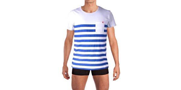 Pánske pruhované tričko s vreckom Mosmann