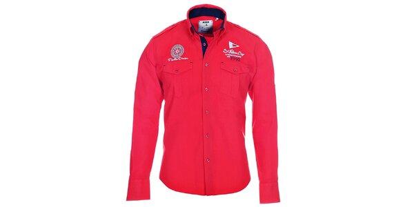 Pánska červená košeľa s vreckami Pontto