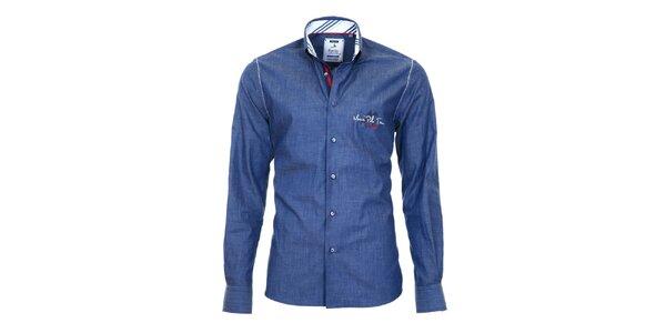 Pánska modrá košeľa s číslom Pontto