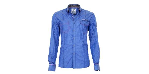 Pánska modrá košeľa s vreckami Pontto