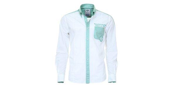 Pánska košeľa s tyrkysovými detailmi Pontto
