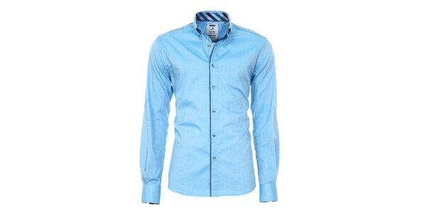 Pánska modrá košeľa s farebnými manžetami Pontto