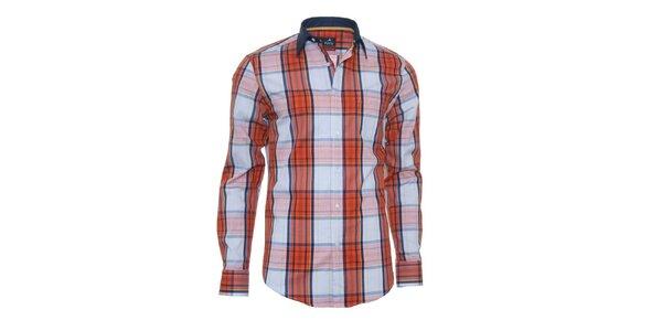 Pánska modro-oranžová košeľa s károu Pontto