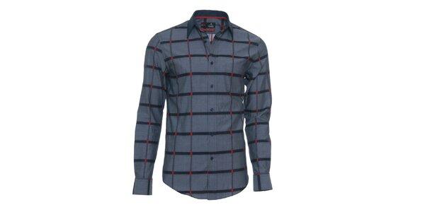 Pánska šedá košeľa s červenými detailmi Pontto