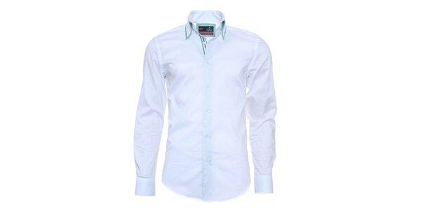 Pánska svetlo modrá košeľa s pruhovanou légou Pontto