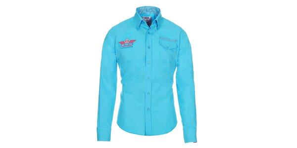 Pánska modrá košeľa Pontto s ozdobnými prvkami a náprsným vreckom Pontto