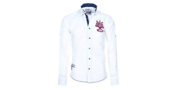 Pánska biela bavlnená košeľa Pontto