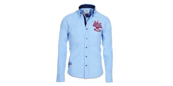 Pánska svetlo modrá bavlnená košeľa Pontto