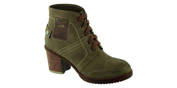 Dámske zelené topánky na opätku Betsy