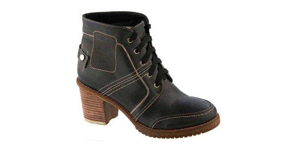 Dámske čierne prešívané topánky na opätku so šnúrkou Betsy