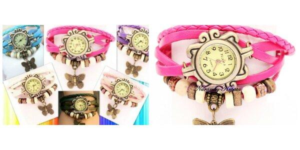 Retro hodinky v letných farbách s motýlikom